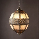 Bronze Spherical Pendulum Light Turkish Metal 3-Bulb Bistro Carved Ceiling Light
