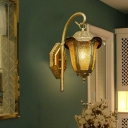 Bell Shaped Yellow Glass Wall Sconce Light Traditional 1 Bulb Hallway Wall Lamp with Ruffled Cap in Brass