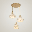 Diamond Iron Cluster Pendant Lighting Nordic 3-Light Restaurant Hanging Lamp with Inner Fabric Shade
