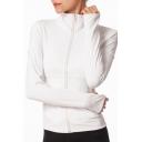 Straightforward Women's Training Jacket Plain Zip Plakcet Long Sleeve Thumb Hole Fitted Active Jacket