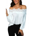 Women's Summer Sexy Off the Shoulder Long Sleeve Hollow Lace Trimmed White Blouse Top