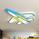 Plane Boys Bedroom LED Flush Mount Lamp Metallic Cartoon Ceiling Light Fixture in Yellow