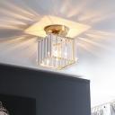 Clear Crystal Rectangle Semi Mount Lighting Postmodern 1 Bulb Gold Finish Ceiling Flush Light