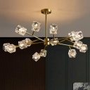 Ice Cube Shaped Hanging Chandelier Postmodernism Crystal Gold Finish Pendant Light