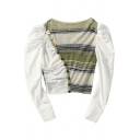 Stylish Womens Shirt Stripe Print Knit Patchwork Puff Sleeve Round Neck Oblique Button Fit Crop Shirt in White-Green