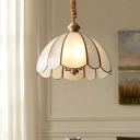 Glass Panel Scalloped Ceiling Lighting Traditional 3 Heads Dining Room Chandelier Light in Gold