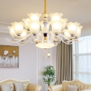 Scalloped Frosted Glass Suspension Light Minimalist Living Room Chandelier in White