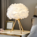 Blossoming Flower Living Room Nightstand Lamp Feather 1 Bulb Contemporary Table Lighting