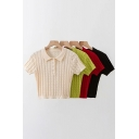Chic Girls Tee Top Cable Knit Short Sleeve Turn Down Collar Button Up Fitted Crop Plain T Shirt