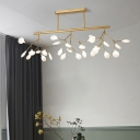 Linear Dining Room Island Lamp Metal 27-Bulb Postmodern Hanging Light with Leaf Shade