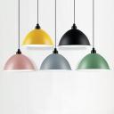 Aluminum Bowl Pendant Lighting Macaron Single-Bulb Hanging Lamp Kit with Rolled Edge