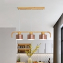 Wooden Linear Island Light Nordic Style Ceiling Suspension Lamp with Drum Metal Shade