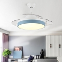 Round Acrylic Hanging Fan Light Macaron LED Semi Flush Mount Lighting for Living Room