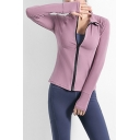 Womens Jacket Stylish Solid Color Stretch Zipper down Slim Fit Long Sleeve Stand Collar Yoga Jacket