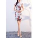 Vintage Womens Dress Flower Pattern Slanting Frog Button Detail Short Sleeve Slim Fitted Mini Modified Cheongsam Dress