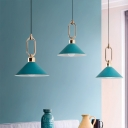 Conical Hanging Light Macaron Metal 1 Bulb Restaurant Ceiling Pendant Lamp with Ring