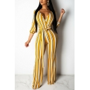Chic Womens Jumpsuit Stripe Print Tie-Waist Deep V Neck Slim Fitted 3/4 Sleeve Wide Leg Jumpsuit