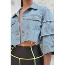 Unique Womens Blue Jacket Raw Edge Detail Panel Chest Flap Pockets 3/4 Sleeve Cropped Regular Turn down Collar Denim Jacket