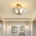 4 Bulbs Ceiling Chandelier Traditional Scalloped Frosted and Water Glass Suspension Lighting in Brass