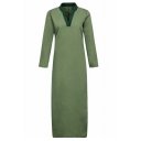 Summer Womens Stylish V-Neck Long Sleeve Split Side Maxi Casual Loose Kaftan Dress