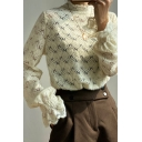 Chic Girls Shirt Semi-sheer Lace Long Sleeve Mock Neck Relaxed Fit Shirt Top in Beige