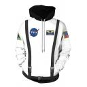 Hot Popular Astronaut NASA Logo Pattern Long Sleeve Casual Pullover Hoodie