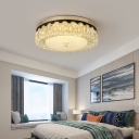 Clear Round Flushmount Light Modern Crystal Led Flush Mount Ceiling Fixture for Bedroom