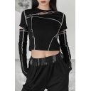 Cool Girls T Shirt Contrast Stitching Glove Sleeve Crew Neck Cut Out Fit Crop Tee Top in Black