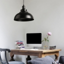 Bowl Shaped Dining Room Suspension Light Industrial Metal 1-Light Pendant Light Fixture