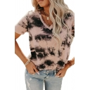 Trendy Womens T-Shirt Tie Dye Pullover V Neck Short Sleeve Relaxed Fit T-Shirt