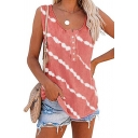 Classic Womens Tank Top Diagonal Stripe Pattern Button Detail Relaxed Fit Sleeveless Scoop Neck Tank Top