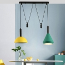 Macaron Pulley Pendant Light Aluminum 2-Bulb Dining Room Multi Ceiling Light with Shade