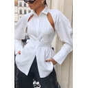 Womens Designer Shirt Long Sleeve Spread Collar Button Up Cut Out Slim Fit Shirt Top in White