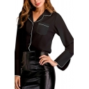 Simple Womens Shirt Contrast Pipe Long Sleeve Lapel Neck Button Up Relaxed Fit Shirt Top in Black