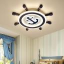 Blue Rudder Flush Ceiling Light Childrens LED Acrylic Flush Mount Lamp for Bedroom