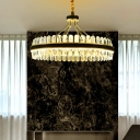 Leather Ring Shaped Suspension Light Simple Gold-Black LED Chandelier with Crystal Accents