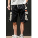 Summer Trendy Buckle Strap Colorblocked Multi-pocket Drawstring Waist Men's Casual Cargo Shorts