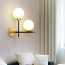 Ball Corridor Wall Sconce Lighting Ivory Glass 2-Head Minimalist Wall Lamp in Black-Brass