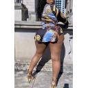 Classic Womens Shirt Color Block Button up Mini Turn down Collar Long Sleeve Slim Shirt Dress