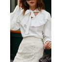 Stylish Womens Shirt Ruffled Trim Long Sleeve Bow Tied Neck Relaxed Fit Shirt Top in White