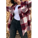 Fashionable Womens Shirt Plaid Printed Long Sleeve Spread Collar Button Up Flap Pockets Relaxed Fit Shirt Top