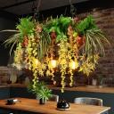 Artificial Plant Cafe Bar Suspension Light Art Deco Metal 3-Head Green Ceiling Pendant Lamp