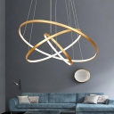 Aluminum Circle LED Pendant Lighting Minimalism Gold Finish Chandelier for Living Room