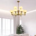 Ellipsoid Up Chandelier Minimalist Ivory Glass Hanging Light Fixture for Living Room