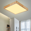 Wooden Squared LED Ceiling Lamp Natural Minimalist Flush Light Fixture in Warm/White