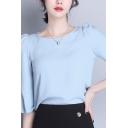 Elegant Womens Shirt Solid Color Bell Sleeve Crew Neck Regular Fit Shirt Top