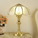 Frosted White Glass Petals Table Lamp Minimalist 2-Bulb Bedside Night Light in Gold