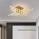 Criss-Cross LED Ceiling Mounted Light Minimalist Acrylic Bedroom Semi Flush Mount in Gold