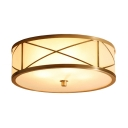 Brass Drum Shaped Ceiling Lamp Antique Style Ivory Glass Bedroom Flush Light Fixture