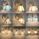 Stained Glass Flower Wall Lamp Tiffany 1-Light Wall Mount Lighting Fixture for Corridor